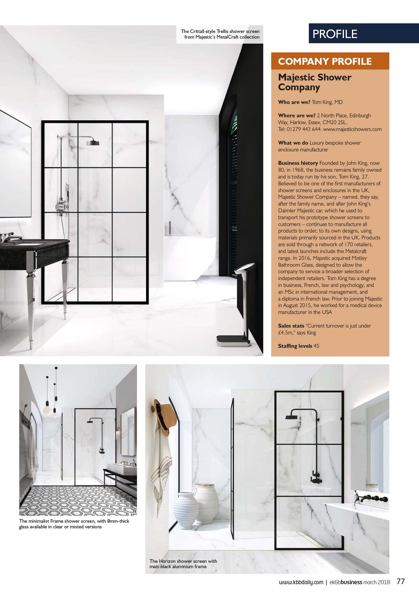 EK&B Business feature on Ocean Bathrooms London showroom - March 2018