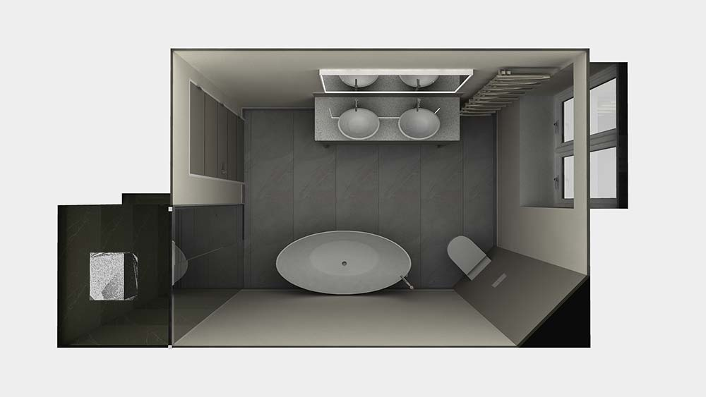 Virtual Worlds bathroom design software above view