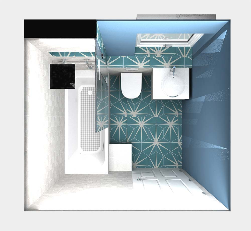 Virtual Worlds bathroom design software topdown view