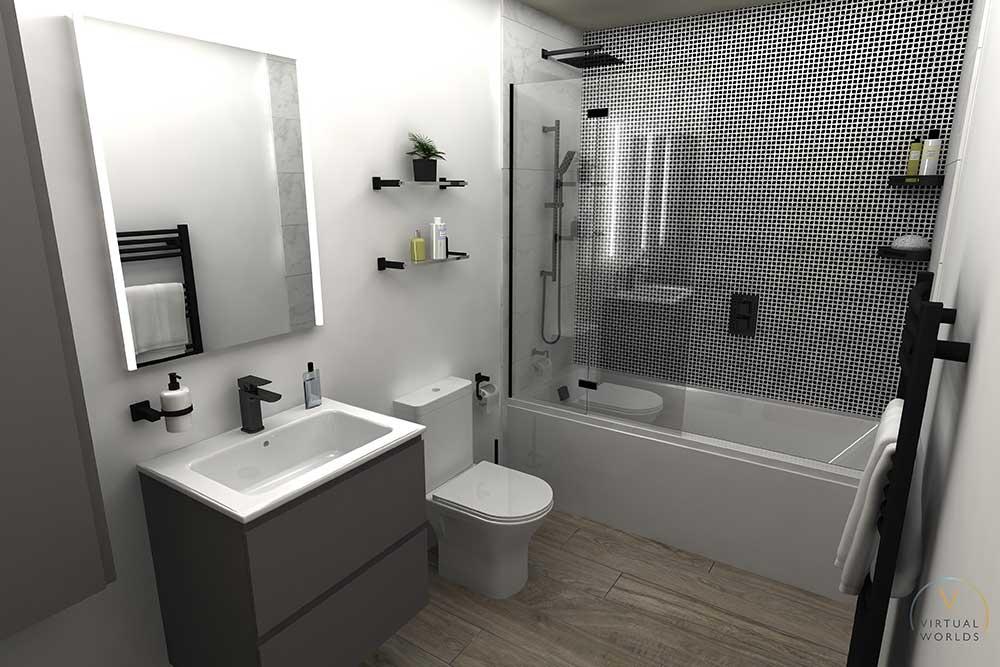 Bathroom Render In Virtual Worlds