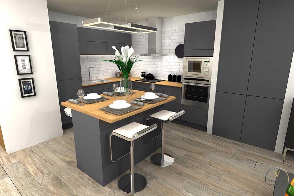 Kitchen Render In Virtual Worlds