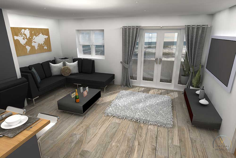 Living Room Render In Virtual Worlds