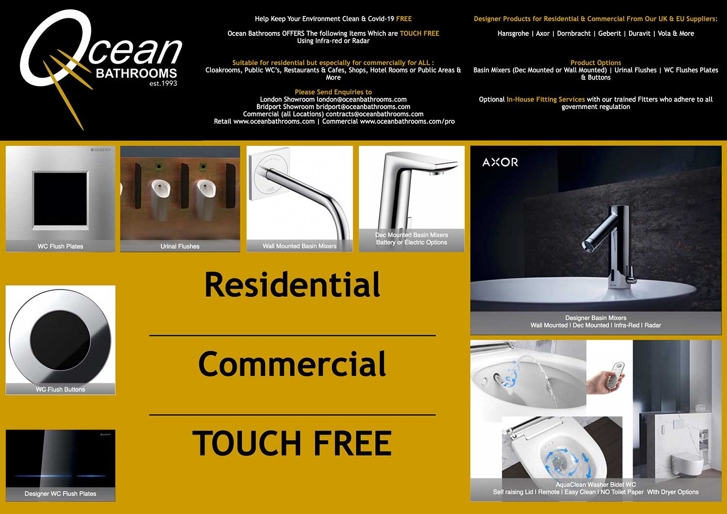 Touch-free Product Range From Ocean Bathrooms