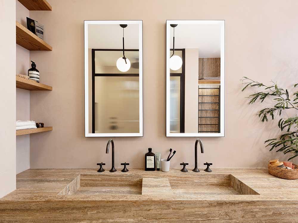 Queens Gate Terrace - dual sink set in travertine marble