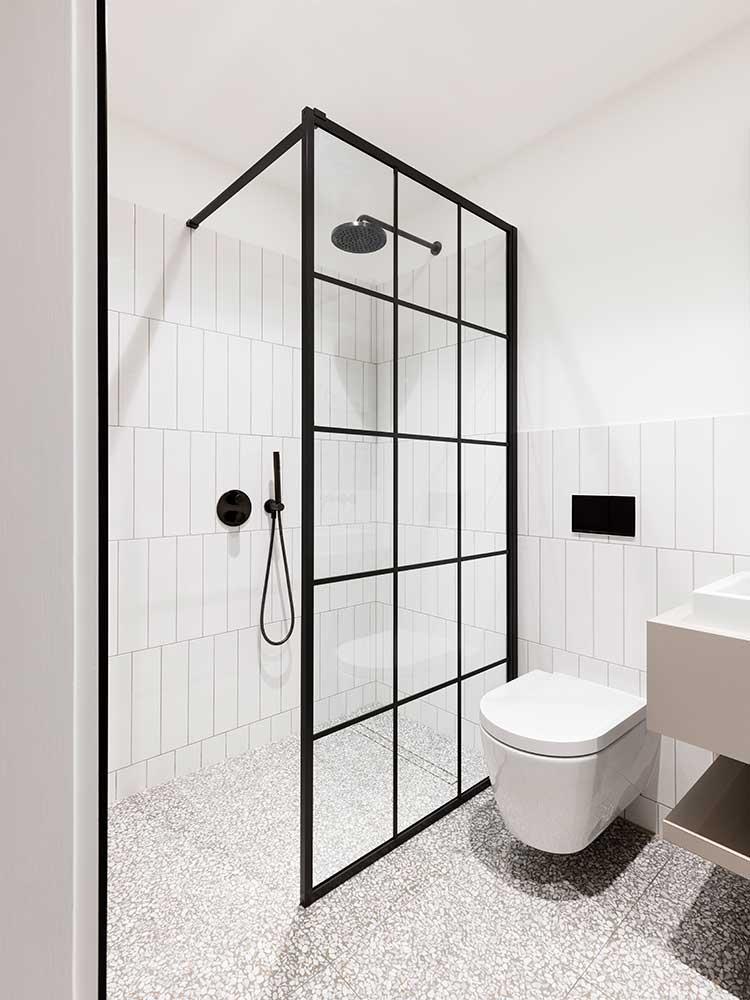 Queens Gate Terrace - matte black shower room with drench framed enclosure