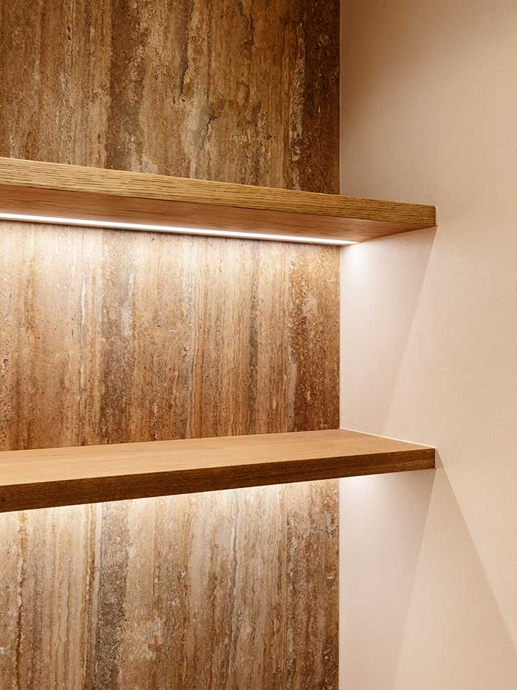Queens Gate Terrace - shelving with mood lighting